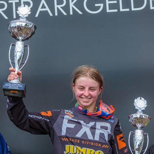 Shana van der Vlist celebrates EMX Women Championship 2nd Overall