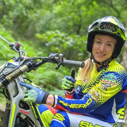 Emma Bristow competing in FIM Women's Trial World Championship 2020- 3 Rounds