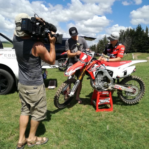 NZ's Trent Collins and Cody Cooper with Sky Sport NZ: Speed show
