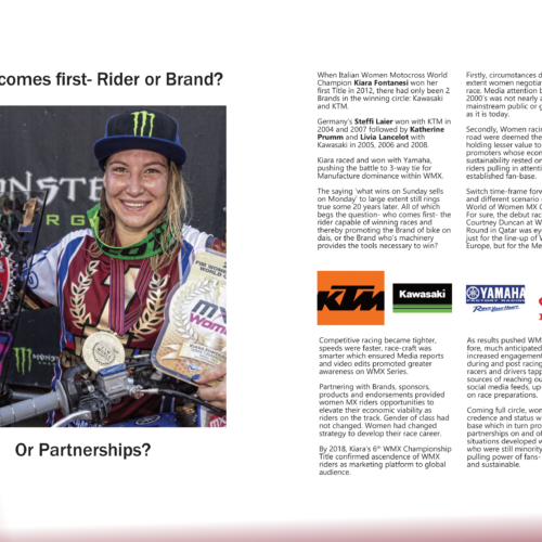 Which comes first- Riders or Brands- Or Partnerships? inside Women in Motorsport Magazine